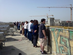 Pardesniks listening to the Yom HaShoah siren on the roof of Pardes - by Rachel Rosenbluth (Spring '13)