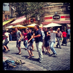 Bnei Akiva youth group dancing to raise money for a day camp they run!  (Near Zion Square)