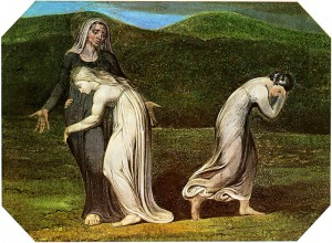 Naomi entreating Ruth and Orpah to return to the land of Moab by William Blake, 1795 (Photo credit: Wikipedia)