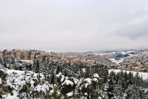 View of the Old City in the snow