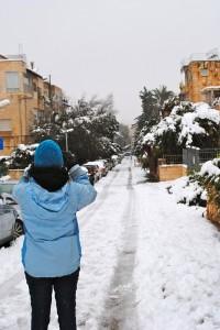 Snowy Jerusalem streets