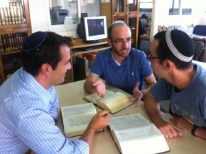 Friends Gil Bar, Jason Kravitz, and Jim Sumner (from left to right) studying at Pardes