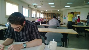 Studying with my chevruta (learning buddy), Nathaniel Moldoff in the Beit Midrash