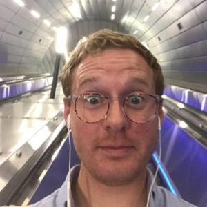 Pardes Student riding light rail israel